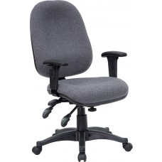 Mid-Back Gray Fabric Multifunction Executive Swivel Chair with Adjustable Arms [BT-662-GY-GG]