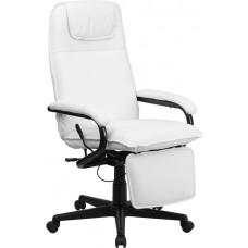 High Back White Leather Executive Reclining Swivel Chair with Arms [BT-70172-WH-GG]