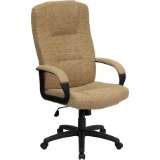 High Back Beige Fabric Executive Swivel Chair with Arms [BT-9022-BGE-GG]