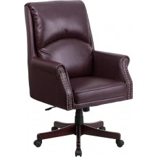 High Back Pillow Back Burgundy Leather Executive Swivel Chair with Arms [BT-9025H-2-BY-GG]
