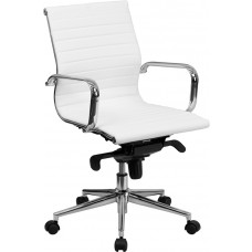 Mid-Back White Ribbed Leather Swivel Conference Chair with Knee-Tilt Control and Arms