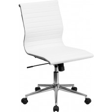 Mid-Back Armless White Ribbed Leather Swivel Conference Chair [BT-9836M-2-WH-GG]