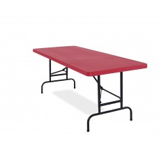 """Red All-American Adjustable Rectangular Folding Table 30x72"""""""