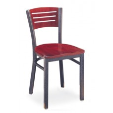 Avalon Armless Chair with horizontal cutouts - Wood Seat - Painted