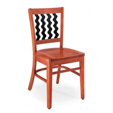 Melrose Vertical Zig Zag Slat Back Chair - All Wood - Painted