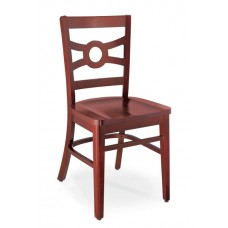 Melrose Design Geometric Cut Out Back Chair - All Wood - Painted