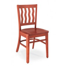Melrose Vertical Wave Slat Back Chair - All Wood - Painted