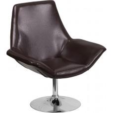 HERCULES Sabrina Series Brown Leather Side Reception Chair [CH-102242-BRN-GG]