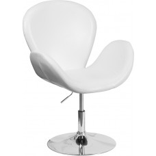HERCULES Trestron Series White Leather Side Reception Chair with Adjustable Height Seat
