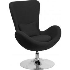 Egg Series Black Fabric Side Reception Chair [CH-162430-BK-FAB-GG]