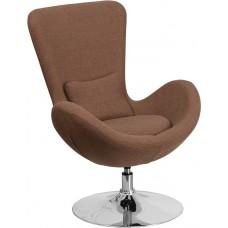 Egg Series Brown Fabric Side Reception Chair [CH-162430-BN-FAB-GG]