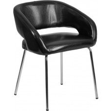 Fusion Series Contemporary Black Leather Side Reception Chair [CH-162731-BK-GG]