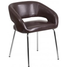 Fusion Series Contemporary Brown Leather Side Reception Chair [CH-162731-BN-GG]