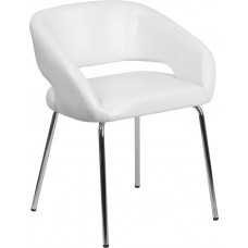 Fusion Series Contemporary White Leather Side Reception Chair [CH-162731-WH-GG]