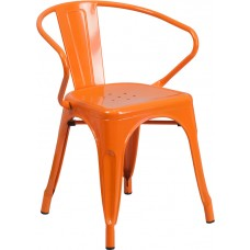Orange Metal Indoor-Outdoor Chair with Arms [CH-31270-OR-GG]