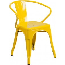 Yellow Metal Indoor-Outdoor Chair with Arms [CH-31270-YL-GG]