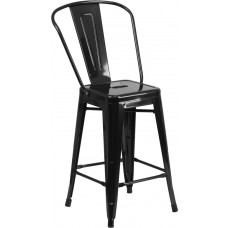 24'' High Black Metal Indoor-Outdoor Counter Height Stool with Back [CH-31320-24GB-BK-GG]