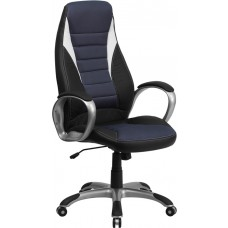 High Back Black Vinyl Executive Swivel Chair with Blue Mesh Inserts and Arms [CH-CX0243H-SAT-GG]