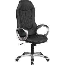 High Back Black Vinyl Executive Swivel Chair with Arms [CH-CX0906H-BK-GG]