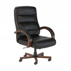 Bush Business Furniture Soft Sense High Back Leather Executive Office Chair with Wood Arms