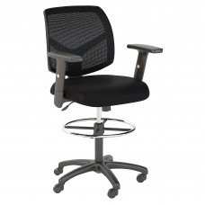 Bush Business Furniture Petite Mesh Back Drafting Chair with Chrome Foot Ring
