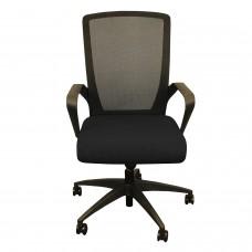 Charlie Task Chair, BLACK foam waterfall seat, black mesh, soft casters