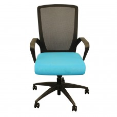 Charlie Task Chair, BLUE foam waterfall seat, black mesh, soft casters