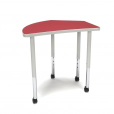 OFM Adapt Series Crescent Standard Table - 25-33″ Height Adjustable Desk with Casters , Red (CREST-LLC)