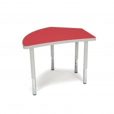 OFM Adapt Series Crescent Student Table - 18-26″ Height Adjustable Desk, Red (CREST-SL)