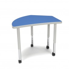 OFM Adapt Series Crescent Student Table - 20-28″ Height Adjustable Desk with Casters, Blue (CREST-SLC)