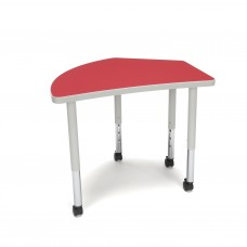 OFM Adapt Series Crescent Student Table - 20-28″ Height Adjustable Desk with Casters, Red (CREST-SLC)