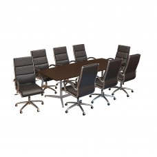 Bush Business Furniture 96W x 42D Boat Shaped Conference Table with Metal Base and Set of 8 High Back Office Chairs