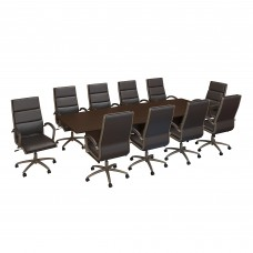 Bush Business Furniture 120W x 48D Boat Shaped Conference Table with Wood Base and Set of 10 High Back Office Chairs