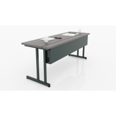 "Delta Classroom Table 24"" x 60"" Black base, Driftwood worksurface"