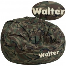 Personalized Oversized Camouflage Kids Bean Bag Chair [DG-BEAN-LARGE-CAMO-TXTEMB-GG]