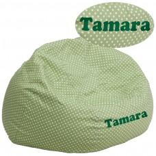Personalized Oversized Green Dot Bean Bag Chair [DG-BEAN-LARGE-DOT-GRN-TXTEMB-GG]