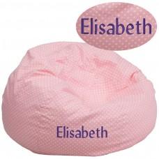 Personalized Oversized Light Pink Dot Bean Bag Chair [DG-BEAN-LARGE-DOT-PK-TXTEMB-GG]