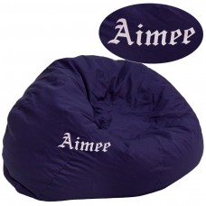 Personalized Oversized Solid Navy Blue Bean Bag Chair [DG-BEAN-LARGE-SOLID-BL-TXTEMB-GG]