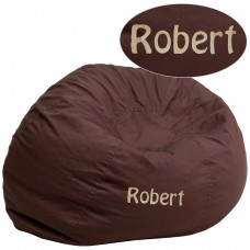 Personalized Oversized Solid Brown Bean Bag Chair [DG-BEAN-LARGE-SOLID-BRN-TXTEMB-GG]