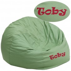 Personalized Oversized Solid Green Bean Bag Chair [DG-BEAN-LARGE-SOLID-GRN-TXTEMB-GG]