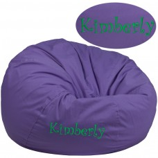 Personalized Oversized Solid Purple Bean Bag Chair [DG-BEAN-LARGE-SOLID-PUR-TXTEMB-GG]