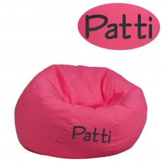 Personalized Small Solid Hot Pink Kids Bean Bag Chair [DG-BEAN-SMALL-SOLID-HTPK-TXTEMB-GG]