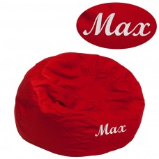 Personalized Small Solid Red Kids Bean Bag Chair [DG-BEAN-SMALL-SOLID-RED-TXTEMB-GG]