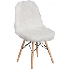 Shaggy Dog White Accent Chair [DL-10-GG]