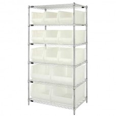 6 Shelf Unit 24Wx36Lx74H With 9 Bins 23-7/8 Lx11 Wx10 Bins And 4 Bins 23-7/8 Lx16-1/2 Wx11 H Bins - Specify Color