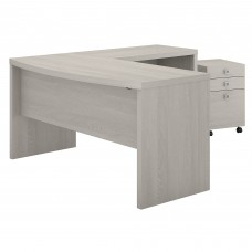 Office by kathy ireland® Echo L Shaped Bow Front Desk with Mobile File Cabinet