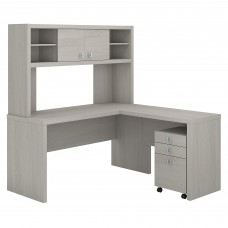 Office by kathy ireland® Echo L Shaped Desk with Hutch and Mobile File Cabinet