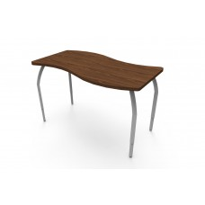 ELO® Tide table, Montana Walnut laminate & banding w/4 adjustable smooth silver legs