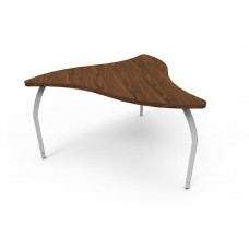ELO® Manta table, Montana Walnut laminate & banding w/3 adjustable smooth silver legs