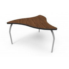 ELO® Manta table w/ Montana Walnut laminate, 3 adjustable smooth silver legs